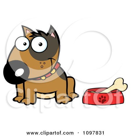Clipart Happy Brown Bull Terrier Sitting By A Dish With A Bone - Royalty Free Vector Illustration by Hit Toon