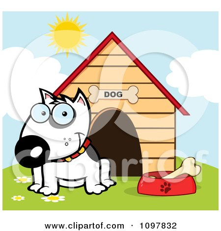 Clipart Happy White Bull Terrier Sitting By A Bone In A Bowl Outside His House - Royalty Free Vector Illustration by Hit Toon