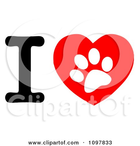 Clipart White Paw Print In A Heart And Letter I - Royalty Free Vector Illustration by Hit Toon