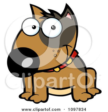 Clipart Happy Brown Bull Terrier Sitting - Royalty Free Vector Illustration by Hit Toon