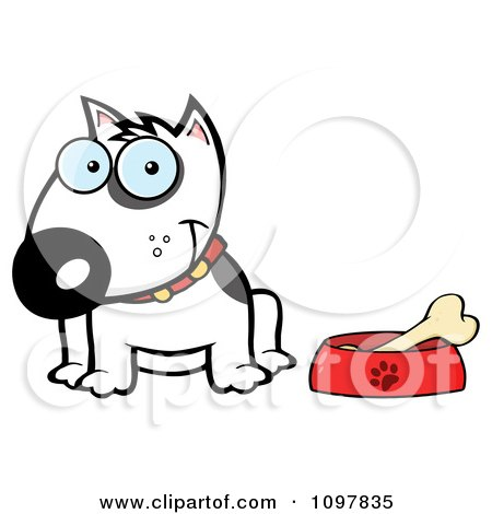 Clipart Happy White Bull Terrier Sitting By A Dish With A Bone - Royalty Free Vector Illustration by Hit Toon