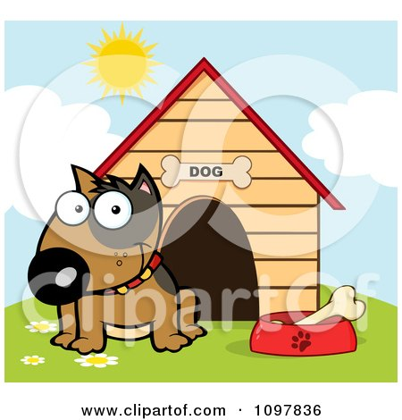 Clipart Happy Brown Bull Terrier Sitting By A Bone In A Bowl Outside His House - Royalty Free Vector Illustration by Hit Toon