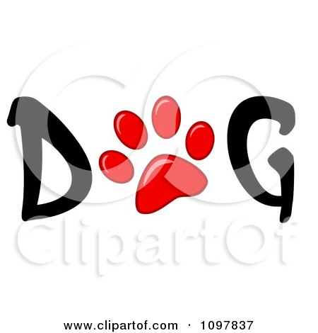 Clipart Red Paw Print In The Word Dog - Royalty Free Vector Illustration by Hit Toon