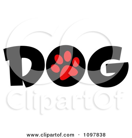 Clipart Red Paw Print In The O Of The Word Dog - Royalty Free Vector Illustration by Hit Toon