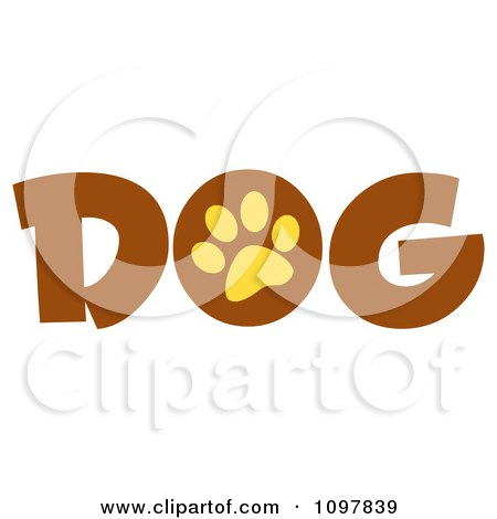 Clipart Yellow Paw Print In The O Of The Brown Word Dog - Royalty Free Vector Illustration by Hit Toon