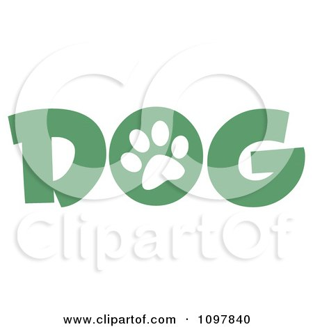 Clipart White Paw Print In The O Of The Green Word Dog - Royalty Free Vector Illustration by Hit Toon