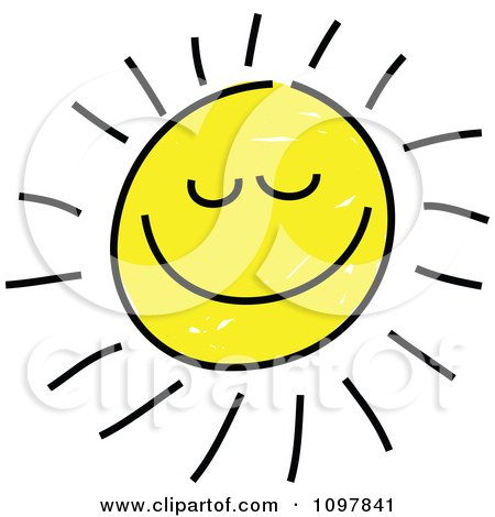 Clipart Happy Smiling Summer Sun With Closed Eyes Child Like Drawing - Royalty Free Vector Illustration by Prawny
