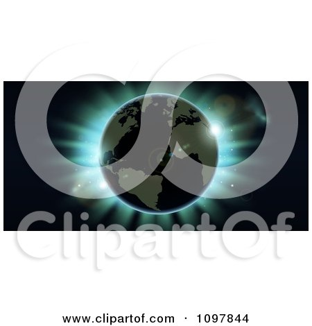 Clipart Atlantic Earth Against Blue Northern Lights During An Eclipse - Royalty Free Vector Illustration by AtStockIllustration