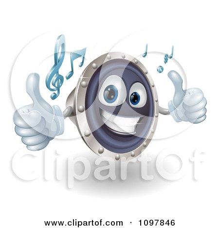 Clipart 3d Happy Music Speaker Mascot Holding Two Thumbs Up And Playing Tunes - Royalty Free Vector Illustration by AtStockIllustration