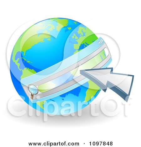 Clipart 3d Vibrant Green And Blue Earth With A Url Search Bar And Cursor - Royalty Free Vector Illustration by AtStockIllustration