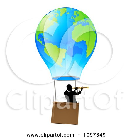 Clipart Businessman Viewing Through A Spyglass In A World Hot Air Balloon - Royalty Free Vector Illustration by AtStockIllustration