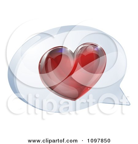 Clipart 3d Shiny Red Heart In A Chat Balloon - Royalty Free Vector Illustration by AtStockIllustration