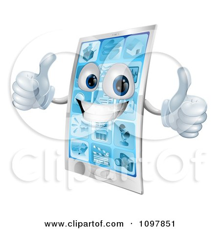 Clipart 3d Happy Cell Phone Character Holding Two Thumbs Up - Royalty Free Vector Illustration by AtStockIllustration
