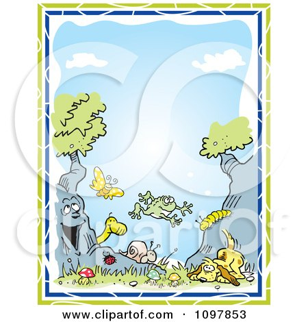 Clipart Boys Border Of A Dog Tree Animals And Insects Against Blue Sky With Green And Blue Edges - Royalty Free Vector Illustration by Johnny Sajem