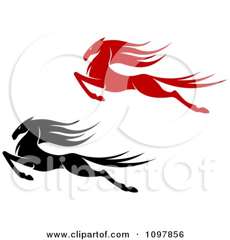 Clipart Black And Red Leaping Horses - Royalty Free Vector Illustration by Vector Tradition SM