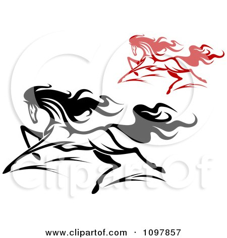 Clipart Fast Black And Red Horses Running 2 - Royalty Free Vector Illustration by Vector Tradition SM