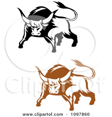 Clipart Black And Brown Tough Bulls 1 - Royalty Free Vector Illustration by Vector Tradition SM