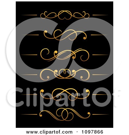 Clipart Golden Flourish Rule And Border Design Elements 15 - Royalty Free Vector Illustration by Vector Tradition SM