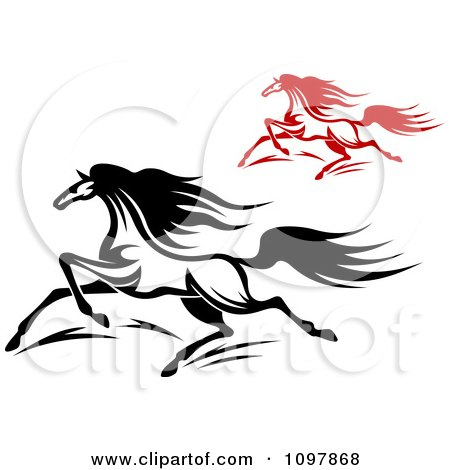 Clipart Fast Black And Red Horses Running 1 - Royalty Free Vector Illustration by Vector Tradition SM