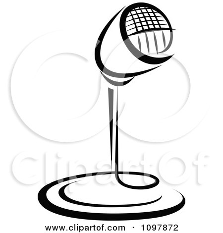 Clipart Black And White Retro Radio Desk Microphone 1 - Royalty Free Vector Illustration by Vector Tradition SM