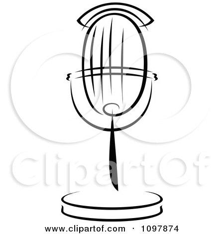 headphones microphone black background old