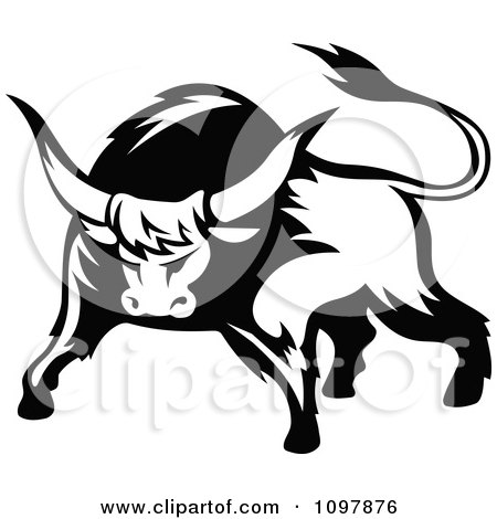 Clipart Black And White Tough Bull 1 - Royalty Free Vector Illustration by Vector Tradition SM