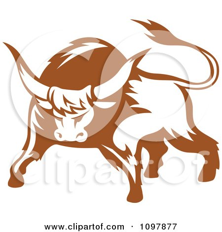 Clipart Brown And White Tough Bull 1 - Royalty Free Vector Illustration by Vector Tradition SM