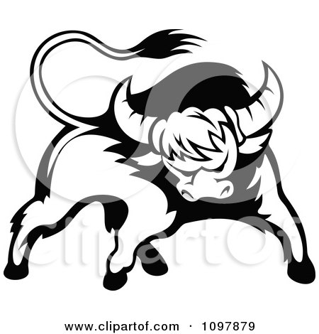 Clipart Black And White Tough Bull 2 - Royalty Free Vector Illustration by Vector Tradition SM