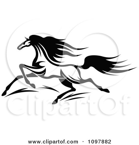 Clipart Fast Black And White Horse Running 1 - Royalty Free Vector Illustration by Vector Tradition SM