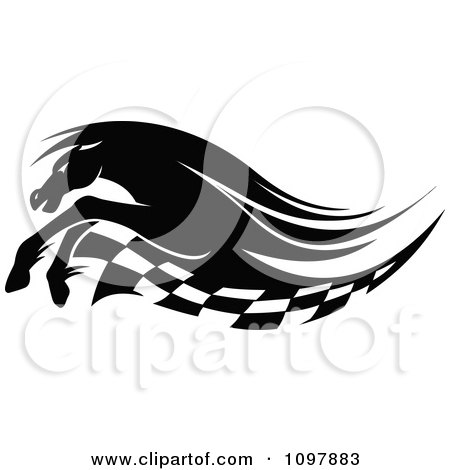 Clipart Black And White Running Race Horse And Checkered Flag - Royalty Free Vector Illustration by Vector Tradition SM