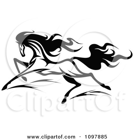 Clipart Fast Black And White Horse Running 2 - Royalty Free Vector Illustration by Vector Tradition SM