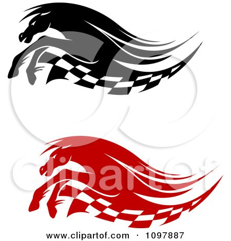 Clipart Black And White Running Race Horses And Checkered Flags - Royalty Free Vector Illustration by Vector Tradition SM