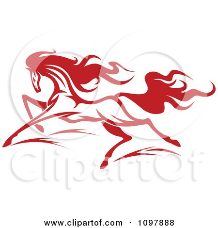 Clipart Fast Red Horse Running 2 - Royalty Free Vector Illustration by Vector Tradition SM