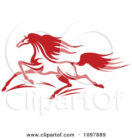 Clipart Fast Red Horse Running 1 - Royalty Free Vector Illustration by Vector Tradition SM