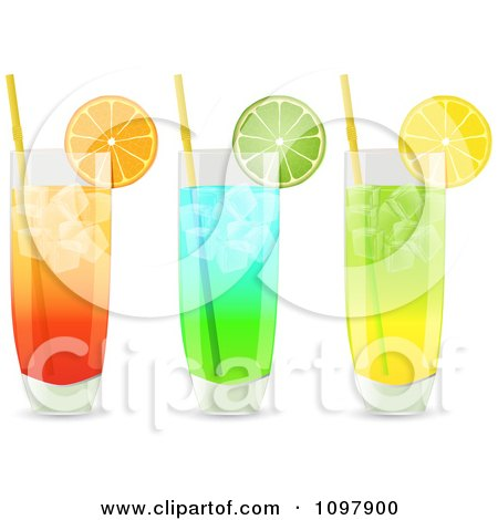 Clipart 3d Cocktail Drinks In Highball Glasses Garnished With Lemon Orange And Lime Wedges - Royalty Free Vector Illustration by elaineitalia
