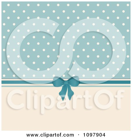 Clipart Retro Background Of Beige Polka Dots On Blue With