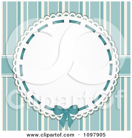Clipart Retro Doily With Copyspace Over Blue Stripes - Royalty Free Vector Illustration by elaineitalia