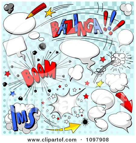 Clipart Cartoon Comic Clouds Sounds And Speech Balloons On Blue Halftone - Royalty Free Vector Illustration by Pushkin