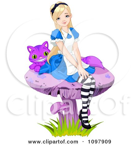 Clipart Of Alice In Wonderland Reading A Book On The