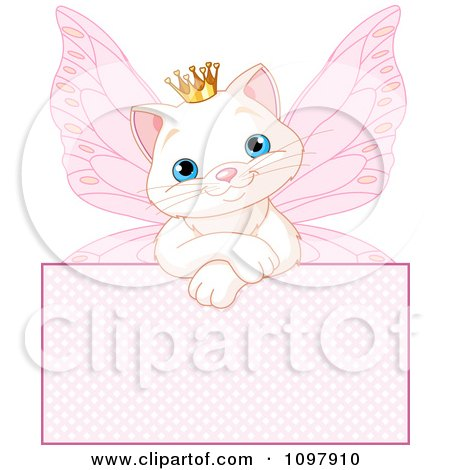 Clipart Cute White Spoiled Princess Cat Fairy Over A Pink Sign - Royalty Free Vector Illustration by Pushkin