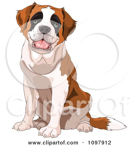 Clipart Cute Happy Saint Bernard Dog Sitting - Royalty Free Vector Illustration by Pushkin