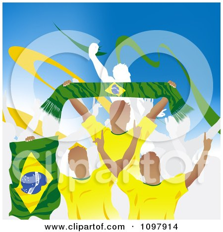 Clipart Crowd Of Cheering Brazilian Soccer Fans With Flags And Banners Royalty Free Vector Illustration
