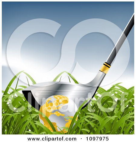 Clipart 3d Silver Golf Glub And Ball In Grass Royalty Free Vector Illustration