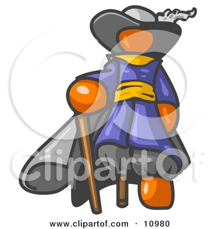 Orange Male Pirate With A Cane And A Peg Leg Clipart Illustration