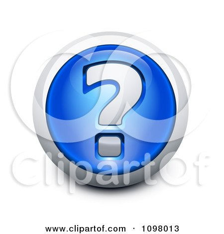 Clipart 3d Blue And Silver Question Mark Assistance Icon - Royalty Free Vector Illustration by Oligo