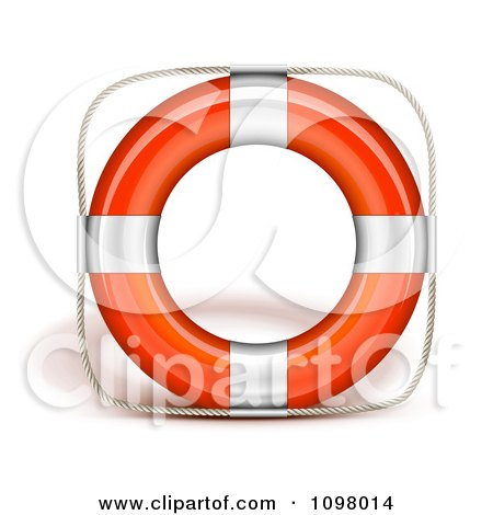 Clipart 3d Orange And Chrome Life Buoy - Royalty Free Vector Illustration by Oligo