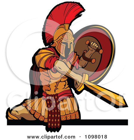 Clipart Stabbing Spartan Warrior Mascot Holding His Shield To The Side And Shown From The Knees Up - Royalty Free Vector Illustration by Chromaco