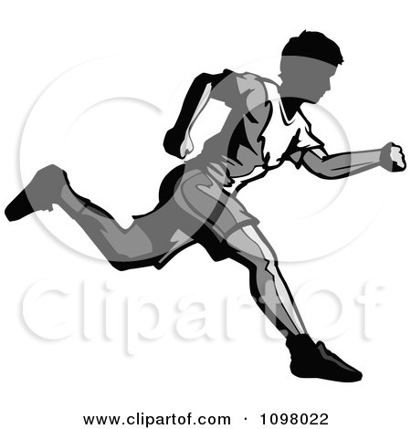 Clipart Grayscale Runner In Profile - Royalty Free Vector Illustration by Chromaco