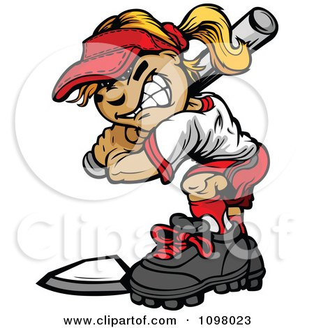 Clipart Tough Softball Girl Up For Bat At Home Base - Royalty Free Vector Illustration by Chromaco