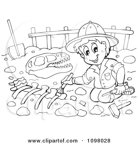Coloring Pages Hearts on Clipart Outlined Paleontologist Brushing Dinosaur Bones   Royalty Free